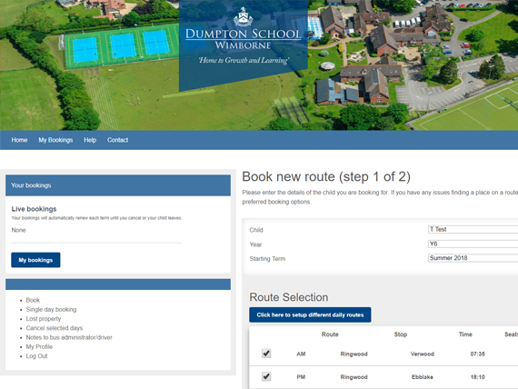 Book a new route on the bus booking management system