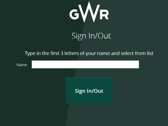 Main GWR sign in system