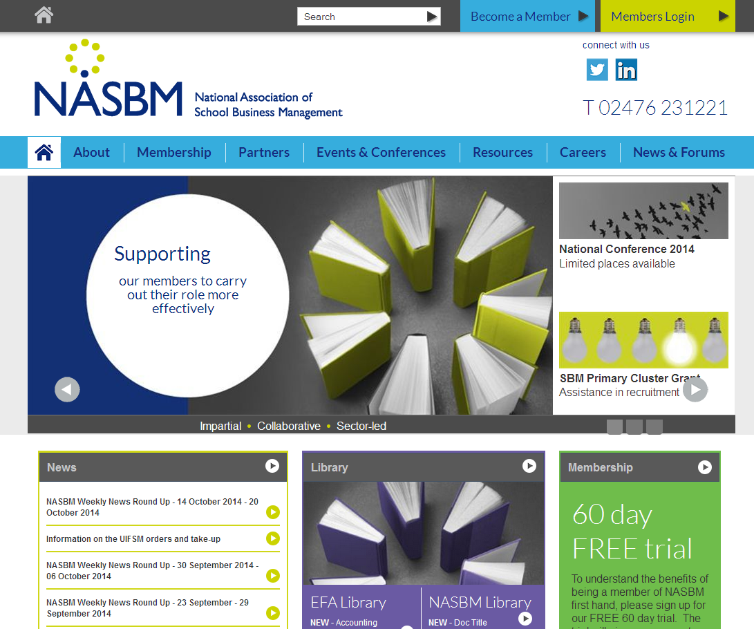 Home page for National Association of School business management